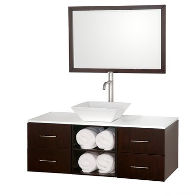 "Wyndham Collection Abba 48"" Wall-Mounted Bathroom Vanity Set"