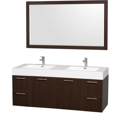 "Wyndham Collection Amare 60"" Double Bathroom Vanity Set"