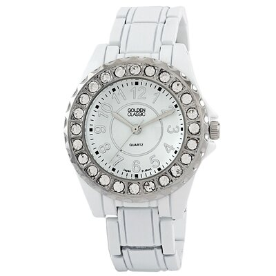 Golden Classic Women's Time's Up Watch in White