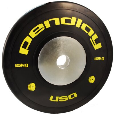 Pendlay 15kg Elite Black Bumper Plates in Colored Ink