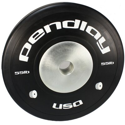 55 lb Elite Black Bumper Plates in White Ink (Set of 2)