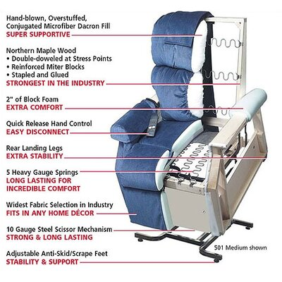 Golden Technologies PR-756MC Relaxer Medium Infinite Position Lift Chair - with Head Pillow