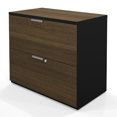 Bestar Pro-Concept Lateral File (Ready-to-Assemble) in Milk Chocolate Bamboo / Black