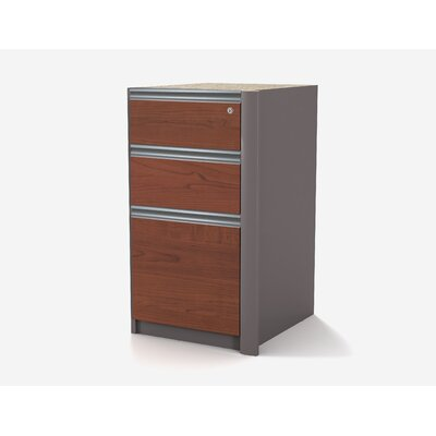 Bestar Connexion Pedestal with Two Utility Drawers in Bordeaux and Slate