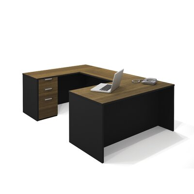 Bestar Pro-Concept U-Shaped Workstation In Milk Chocolate Bamboo & Black