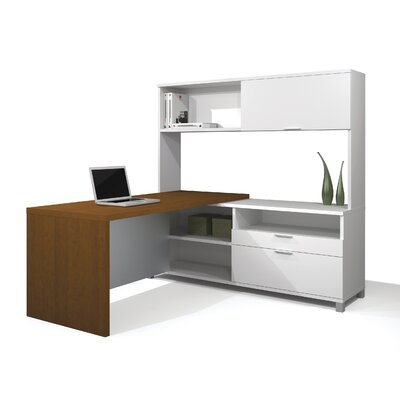 Bestar Pro-Linea L-Shaped Executive Desk with  Optional Hutch
