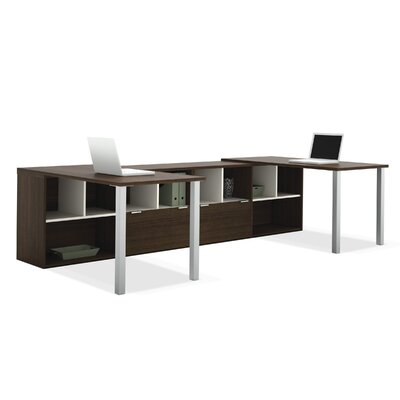 Bestar Contempo Double L-Shaped Desks with Storage
