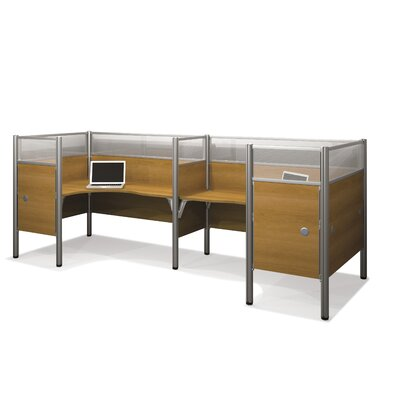 Bestar Pro-Biz Double Side-by-Side L-Desk Workstation With 4 Melamine Privacy Panels & 4 Acrylic Glass Privacy Panels
