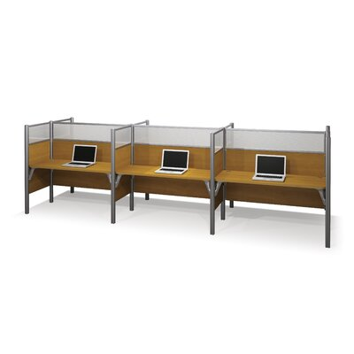 Bestar Pro-Biz Six-Straight Desk Workstation With 3 Melamine Privacy Panels & 3 Acrylic Glass Privacy Panels (Per Workstation)