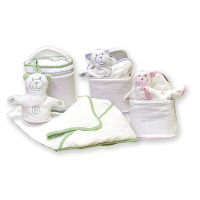 Trend Lab Terry Velour Bath Bag Set with Gingham Seersucker Trim