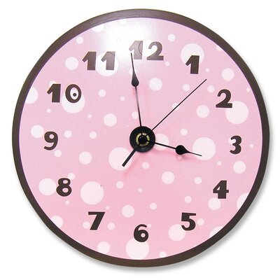 Trend Lab Polka Dots Wall Clock in Pink and Brown