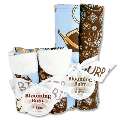 Trend Lab Cowboy Bouquet Bib and Burp Cloth Set