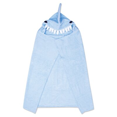 Shark Character Hooded Towel in Blue