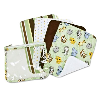 Trend Lab Chibi Zoo Zipper Pouch and 4 Burp Cloths Gift Set