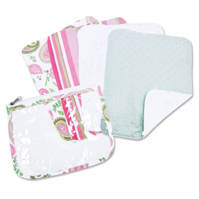 Trend Lab Paisley Zip Pouch Burp Cloth Set in Pink