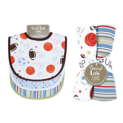 Trend Lab Little MVP Bouquet Bib and Burp Cloth Set