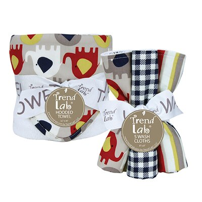 Elephant Parade Bouquet Set with Hooded Towel and Wash Cloth