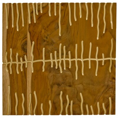 RS Furnishings Pura Vida I Shock Wave Teak Panel in Natural with Gold Waves