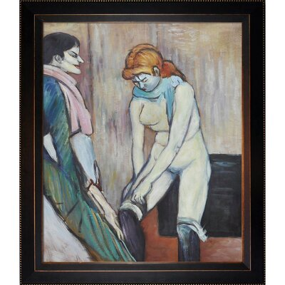 Tori Home Woman Pulling up her Stocking Toulouse-Lautrec Framed Original Painting