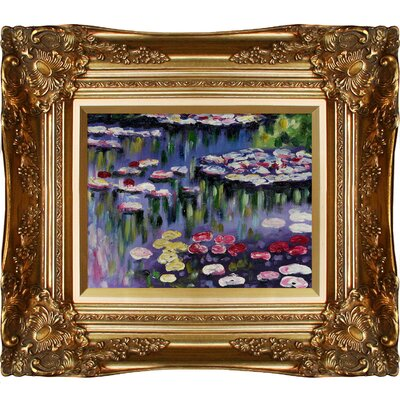 Tori Home Water Lilies (Pink) Monet Framed Original Painting