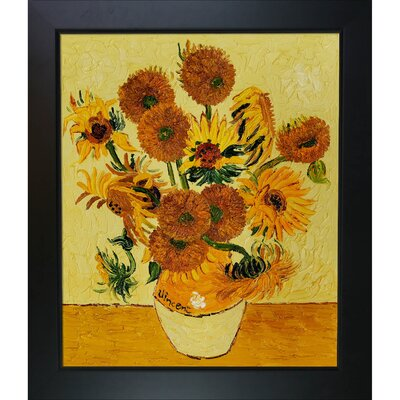 Vase with Fifteen Sunflowers Canvas Art