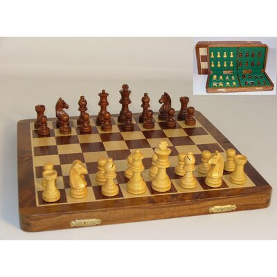 "Pleasantime 16"" Inlaid Wood Folding Chess Set"