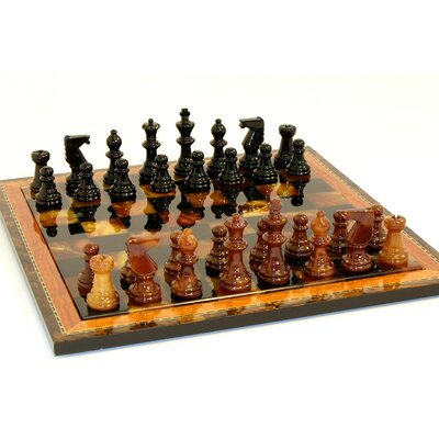 Scali Alabaster Wood Frame Chess Set in Black / Brown