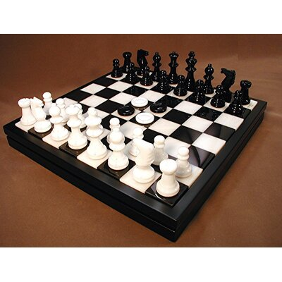 Scali Alabaster Chest Chess Set in Black / White
