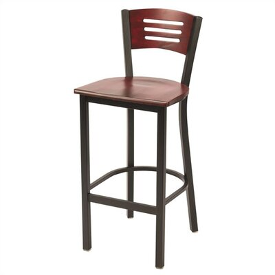 KFI Seating Wooden Mahogany Barstool