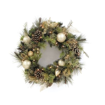 LB International Clear Decorated Wreath With Cones