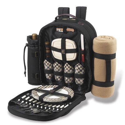 Picnic At Ascot London Backpack with Blanket and Four Place Settings