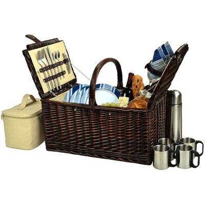 Picnic At Ascot Buckingham Basket with Coffee Flask for Four