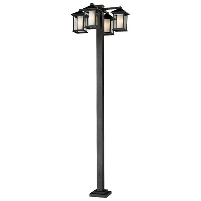 "Z-Lite Mesa 4 Light 99"" Aluminum Outdoor Post Lantern Set"