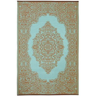 Fab Rugs World Istanbul Fair Aqua/Warm Taupe Indoor/Outdoor Rug