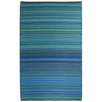 World Cancun Turquoise/Moss Green Stripe Indoor/Outdoor Rug
