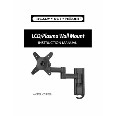 "Ready Set Mount Full Motion Swivel LCD Wall Mount for 13"" to 37"" Screens in Hi-Gloss Black"