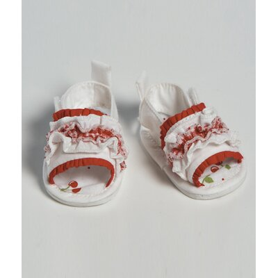 "Adora Dolls 20"" Doll Shoe Sandal Ruffle in Red / white"