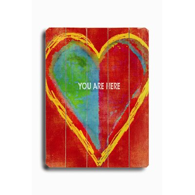 "Artehouse LLC Heart-You Are Here Planked Wood Sign - 20"" x 14"""