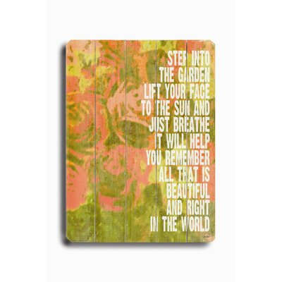 "Artehouse LLC Step Into the Garden Wood Sign - 12"" x 9"""