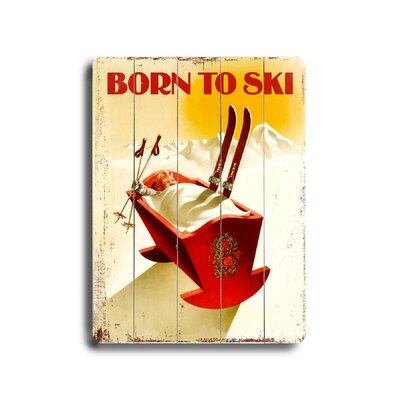 Artehouse LLC Born to Ski Vintage Advertisement Plaque
