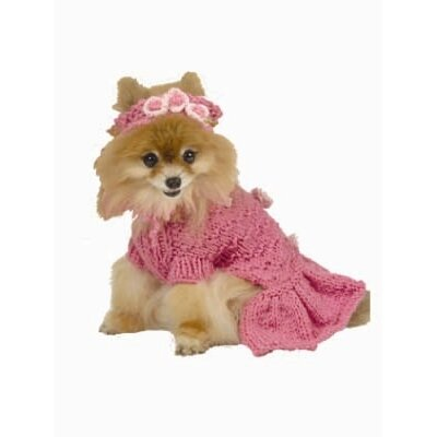 Ruffled Dog Sweater with Head Band in Hot Pink