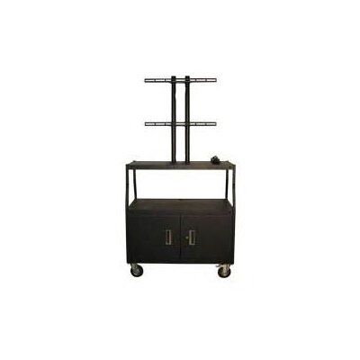 "Vutec 27 - 50"" Flat Panel Cart with Cabinet, Adjustable 44"" and 4 Outlets"