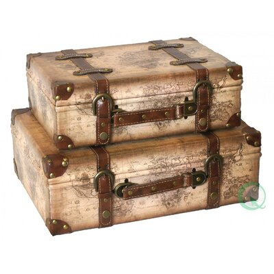 Quickway Imports Old World Map Leather Vintage Style Suitcase