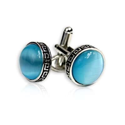 Greek Cufflinks in Bright Blue