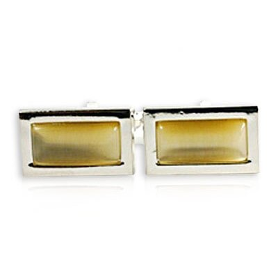 Rectangular Glass Cufflinks in Gold