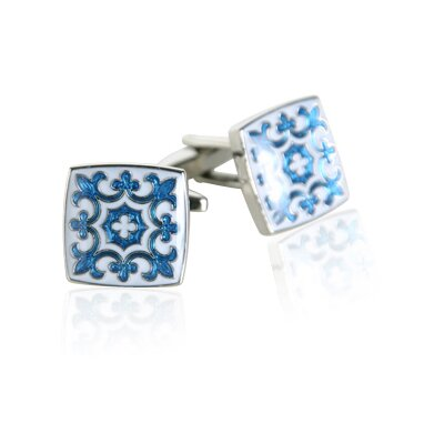 Cuff-Daddy Fleur Di Lis Cufflinks in Blue / White