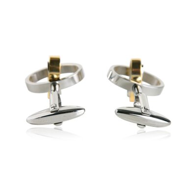 Cuff-Daddy Movable Oval Cufflinks in Stainless Steel