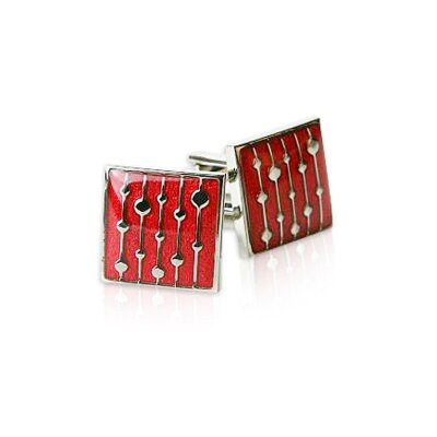 Water Drop Cufflinks in Red