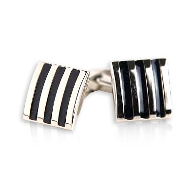 Cuff-Daddy 3-Stripe Cufflinks in Black