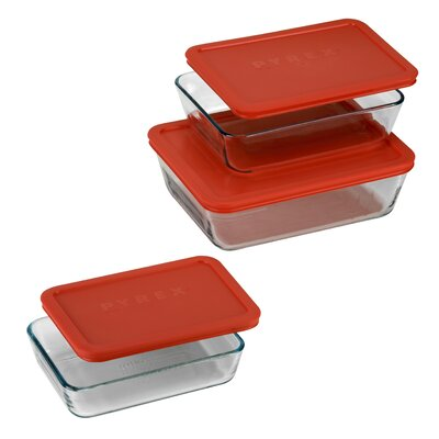 Pyrex 6 Piece Bakeware/Cookware Set with Plastic Covers